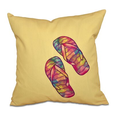 Granata Rainbow Flip Flops Geometric Print Throw Pillow Size: 26 H x 26 W, Color: Yellow