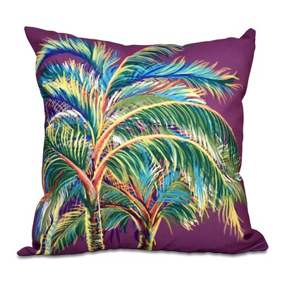 Granata Vacation Floral Throw Pillow Size: 16 H x 16 W, Color: Purple