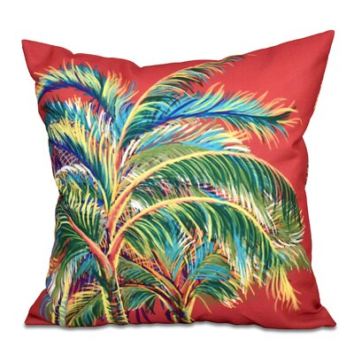 Granata Vacation Floral Throw Pillow Size: 16 H x 16 W, Color: Coral