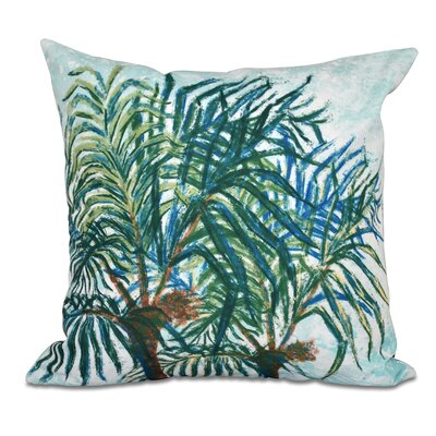 Granata Palms Floral Print Throw Pillow Size: 16 H x 16 W, Color: Light Blue