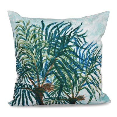 Granata Palms Floral Print Throw Pillow Size: 18 H x 18 W, Color: Aqua