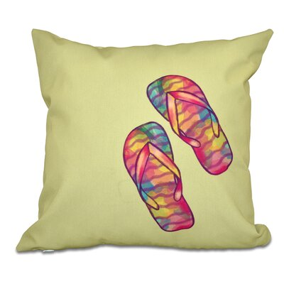 Jacque Rainbow Flip Flops Geometric Print Outdoor Throw Pillow Size: 18 H x 18 W, Color: Green