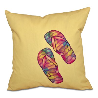 Jacque Rainbow Flip Flops Geometric Print Outdoor Throw Pillow Size: 18 H x 18 W, Color: Yellow