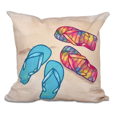 Haiti Beach Shoes Geometric Print Outdoor Throw Pillow Size: 20 H x 20 W