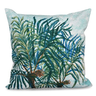 Haiti Palms Floral Print Outdoor Throw Pillow Size: 20 H x 20 W, Color: Aqua