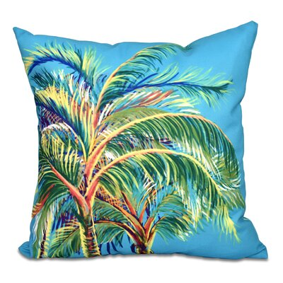 Pinkfringe Outdoor Throw Pillow Size: 18 H x 18 W, Color: Turquoise