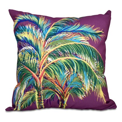 Pinkfringe Floral Print Outdoor Throw Pillow Size: 18 H x 18 W, Color: Purple