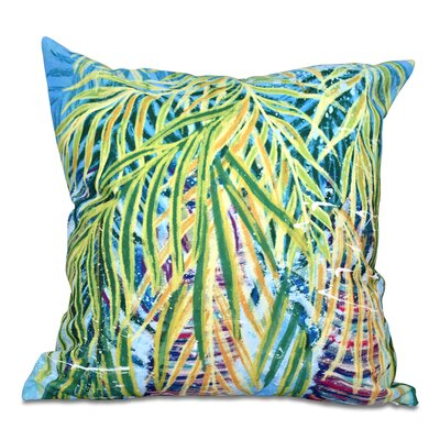 Pinkfringe Malibu Floral Print Outdoor Throw Pillow Size: 18 H x 18 W, Color: Aqua
