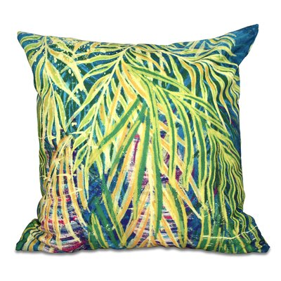 Pinkfringe Malibu Floral Print Outdoor Throw Pillow Size: 18 H x 18 W, Color: Teal