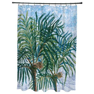 Kingbird Palms Floral Print Shower Curtain Color: Light Blue
