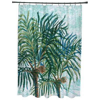 Kingbird Palms Floral Print Shower Curtain Color: Aqua