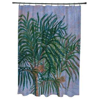 Kingbird Palms Floral Print Shower Curtain Color: Dark Blue