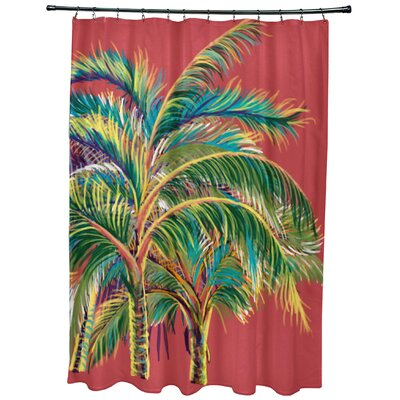 Geranium Vacation Floral Shower Curtain Color: Coral