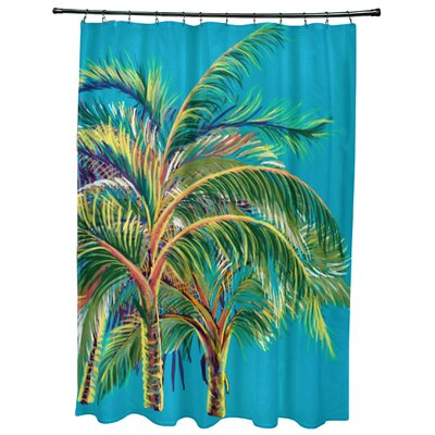 Geranium Vacation Floral Shower Curtain Color: Turquoise