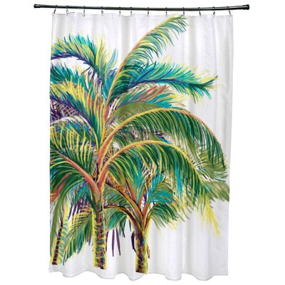 Geranium Vacation Floral Shower Curtain Color: White