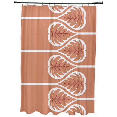 Sigsbee Fern 1 Floral Print Shower Curtain Color: Coral