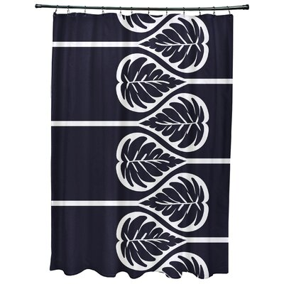 Sigsbee Fern 2 Floral Print Shower Curtain Color: Navy Blue