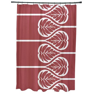 Sigsbee Fern 2 Floral Print Shower Curtain Color: Coral