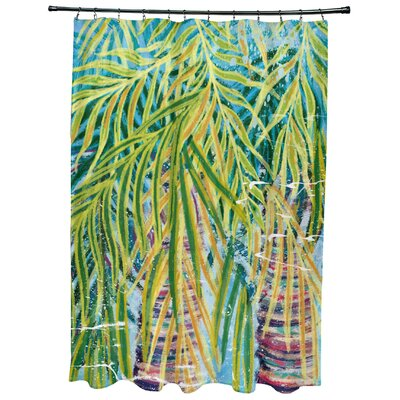 Sanchezia Floral Print Shower Curtain Color: Aqua