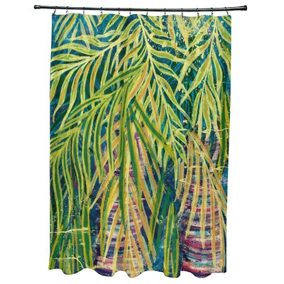 Sanchezia Floral Print Shower Curtain Color: Teal