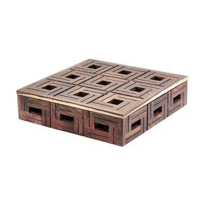 Teak Patterned Box Size: 3 H x 12 W x 12 D