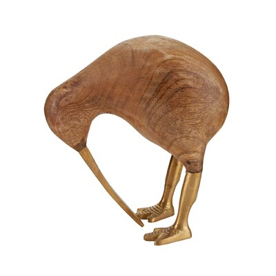 Wood and Brass Kiwi Sculpture