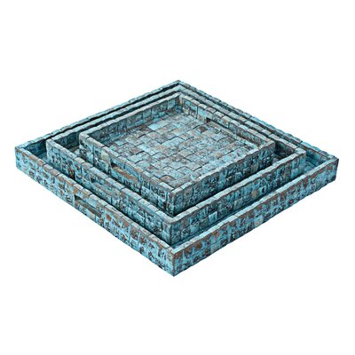 3 Piece Tray Set Finish: Ocean Blue