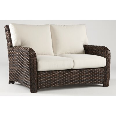 Chorio Loveseat with Cushions Fabric: Aquamarine, Frame Finish: Espresso