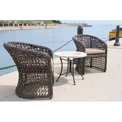 Monterey 3 Piece Wicker Lounge Seating Group with Cushions