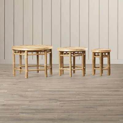 Porter Natural Bamboo 3 Piece Nesting Accent Stool Set