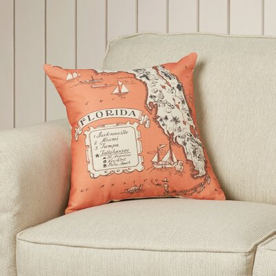 Donahue Florida Map Throw Pillow Color: Orange