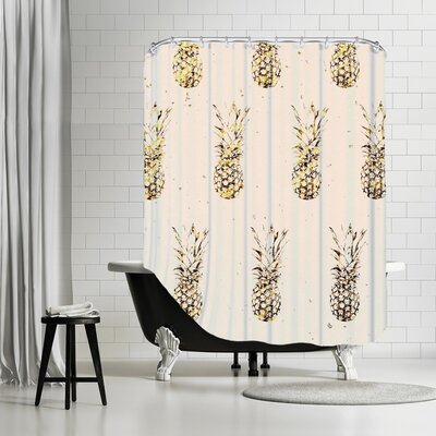 Peach & Gold Pineapples Shower Curtain