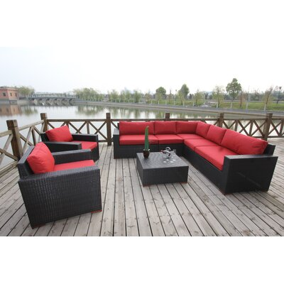 Scholtz Conversation Sectional 8 Piece Deep Seating Group with Cushion Fabric Color: Red