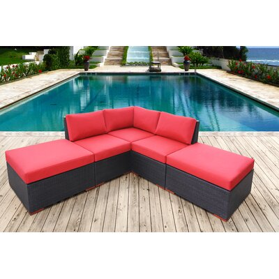 Scholtz Corner Deep Seating Sectional with Cushions Fabric Color: Red