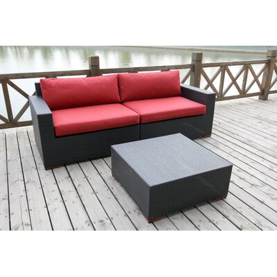Scholtz 3 Piece Deep Seating Group with Cushion Fabric Color: Red