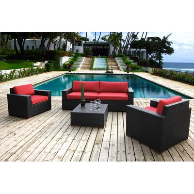 Scholtz 5 Piece Deep Seating Group with Cushion Fabric Color: Red