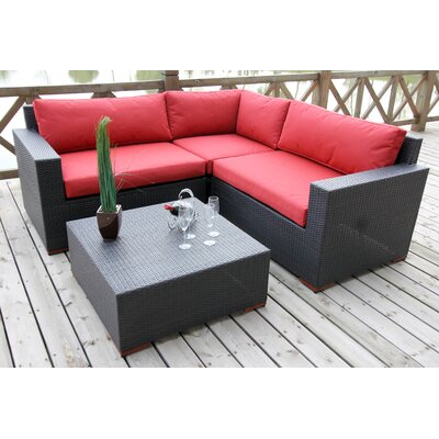 Scholtz Conversation Sectional 4 Piece Deep Seating Group with Cushion Fabric Color: Red