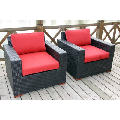Scholtz Deep Seating Chair with Cushion Fabric Color: Red