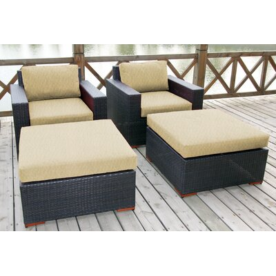 Scholtz 4 Piece Deep Chair Seating Group with Cushion Fabric: Canvas Heather Beige