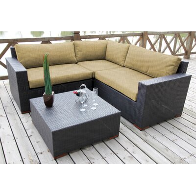 Scholtz 4 Piece Lounge Seating Group with Cushion Fabric: Canvas Heather Beige