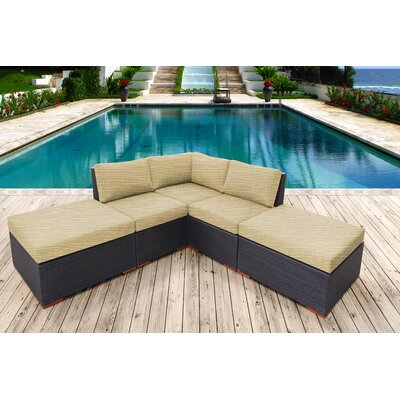 Scholtz 5 Piece Lounge Seating Group with Cushion Fabric: Canvas Heather Beige
