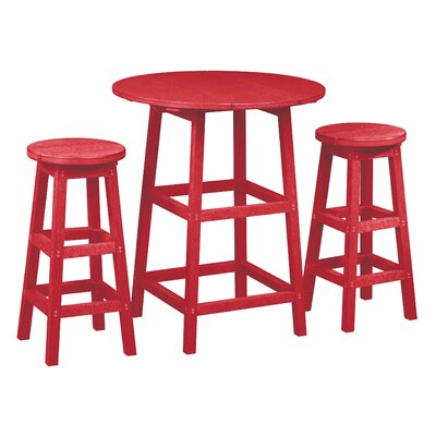 Alanna 3 Piece Pub Set Finish: Red