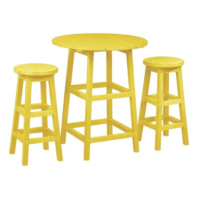 Alanna 3 Piece Pub Set Finish: Yellow
