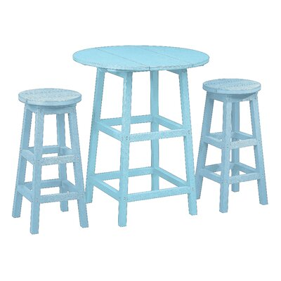 Alanna 3 Piece Pub Set Finish: Aqua