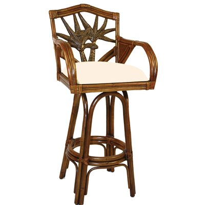 Cypress 24 Swivel Bar Stool Upholstery Color: Leilani Rainforest