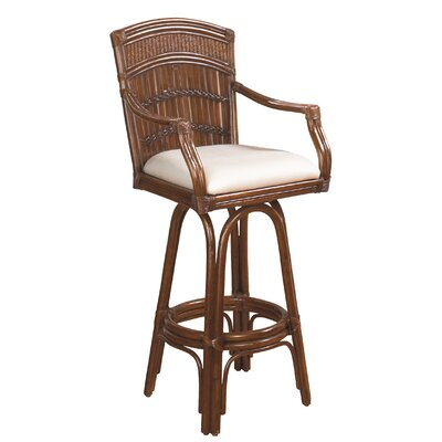 Hutchinson Island South Coastal 30 Swivel Bar Stool Upholstery: Palm Patch Champagne