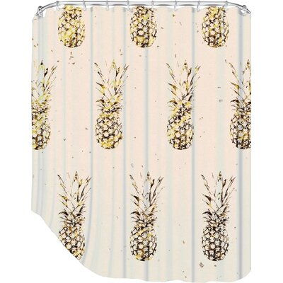 Peach & Gold Pineapples Shower Curtain