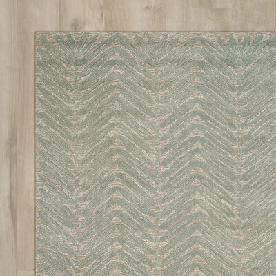 Chevron Leaves Hand-Tufted Blue Fir Area Rug Rug Size: Round 6 x 6
