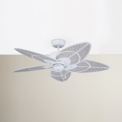 14 Aaliyah 5-Blade Ceiling Fan Color: Satin White with Light Wicker and Satin White High