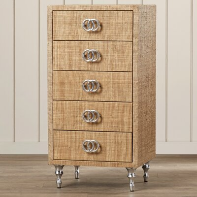 Moonflower 5 Drawer Lara Raffia Accent Chest